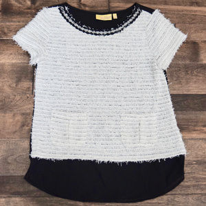 Vera Wang Short Sleeve White & Black Blouse - S